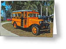 Old Ford School Bus No. 32 Greeting Card