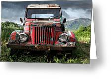 Old Forgotten Red Car Greeting Card