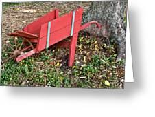 Old Garden Wheel Barrow Greeting Card