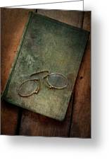 Old Glasses And Old Green Book Greeting Card
