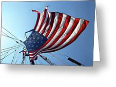 Old Glory Blowing In The Breeze Greeting Card