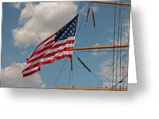 Old Glory Flying Over Eagle Greeting Card
