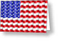 Pixilated Old Glory Greeting Card