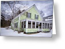 Old Green And White New Englander Home Greeting Card