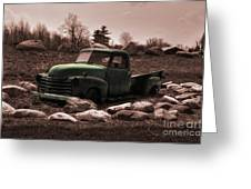Old Green Truck Greeting Card