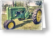 Old Green Vintage Tractor Watercolor Greeting Card