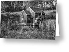 Old Grist Mill In Vermont Black And White Greeting Card