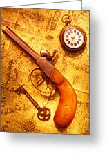 Old Gun On Old Map Greeting Card