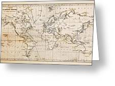 Old Hand Drawn Vintage World Map Greeting Card