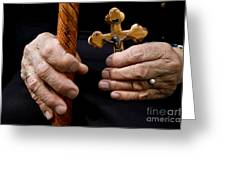 Old Hands And Crucifix  Greeting Card