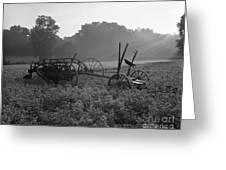 Old Hay Baler In Misty Field Greeting Card