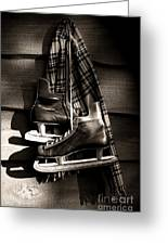 Old Hockey Skates With Scarf Hanging On A Wall Greeting Card