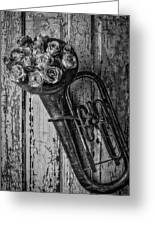 Old Horn And Roses On Door Black And White Greeting Card