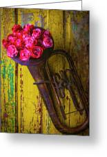 Old Horn And Roses On Door Greeting Card