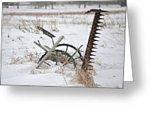 Old Horse Drawn Sickle Mower Greeting Card