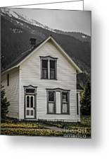 Old House And Dandelions Greeting Card
