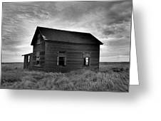 Old House In A Barren Field Greeting Card