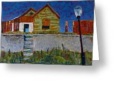 Old House With Lamppost Greeting Card