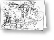 Old Houses And Boats Greeting Card