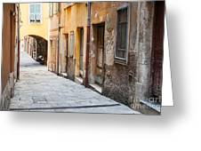 Old Houses On Narrow Street In Villefranche-sur-mer Greeting Card