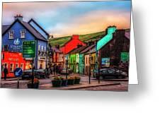 Old Irish Town The Dingle Peninsula At Sunset Greeting Card