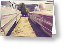 Old Junkyard Cars Chevy And Ford Utah Greeting Card