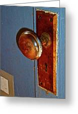 Old Knob On Blue Door Greeting Card