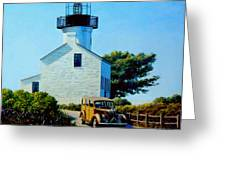 Old Lighthouse Point Loma Greeting Card by Frank Dalton