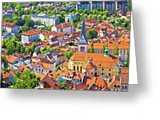 Old Ljubljana Cityscape Aerial View Greeting Card
