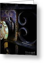 Old Lock On A Cast Iron Gate Greeting Card