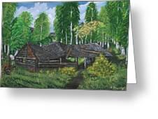 Old Log Cabin And   Memories Greeting Card