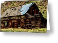 Old Log Cabin-barn Greeting Card