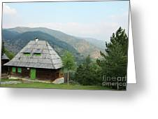 Old Log Cabin On Mountain Landscape Greeting Card