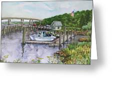 Old Lyme Boat Yard At The Dep Greeting Card
