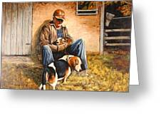 Old Man And The Beagle Pups Greeting Card