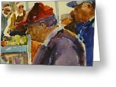 Old Man At The Market Greeting Card