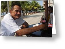 Old Man Drinking Coca Cola Greeting Card