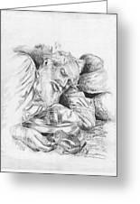 Old Man Feeding Chipmunk Greeting Card