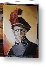 Old Man In Military Costume Greeting Card