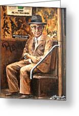 Old Man In Subway Greeting Card