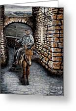 Old Man On A Donkey Greeting Card