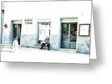 Old Man Sitting In Front Of A Shop Greeting Card