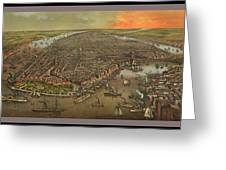 Old Manhattan Historic Illustration Greeting Card