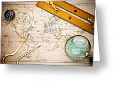Old Map And Navigational Objects. Greeting Card by Richard Thomas