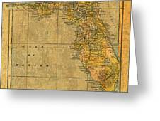 Old Map Of Florida Vintage Circa 1893 On Worn Distressed Parchment Greeting Card