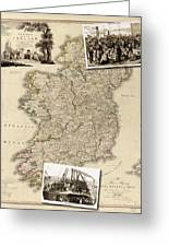 Vintage Map Of Ireland With Old Irish Woodcuts Greeting Card