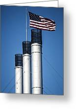 Old Mill Smoke Stacks With Flag Greeting Card