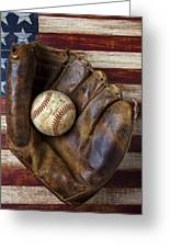 Old Mitt And Baseball Greeting Card by Garry Gay