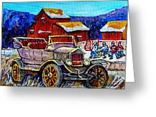 Old Model T Car Red Barns Canadian Winter Landscapes Outdoor Hockey Rink Paintings Carole Spandau Greeting Card