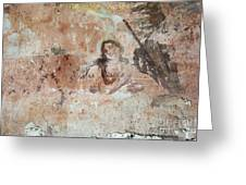 Old Mural Painting In The Ruins Of The Church Greeting Card